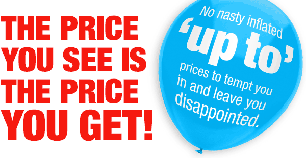 Promotional banner - The price shown is the price you get